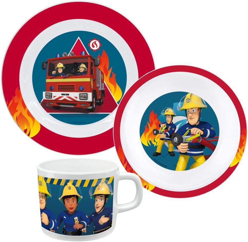 dise/ño de Sam el bombero Juego de vajilla infantil con plato cuenco para cereales y taza
