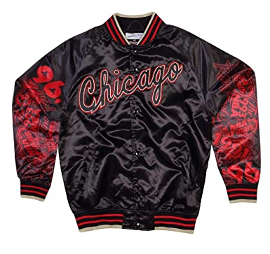 81d256a6342 Amazon.com  Mitchell   Ness NBA Chicago Bulls Sublimated Gold Satin ...
