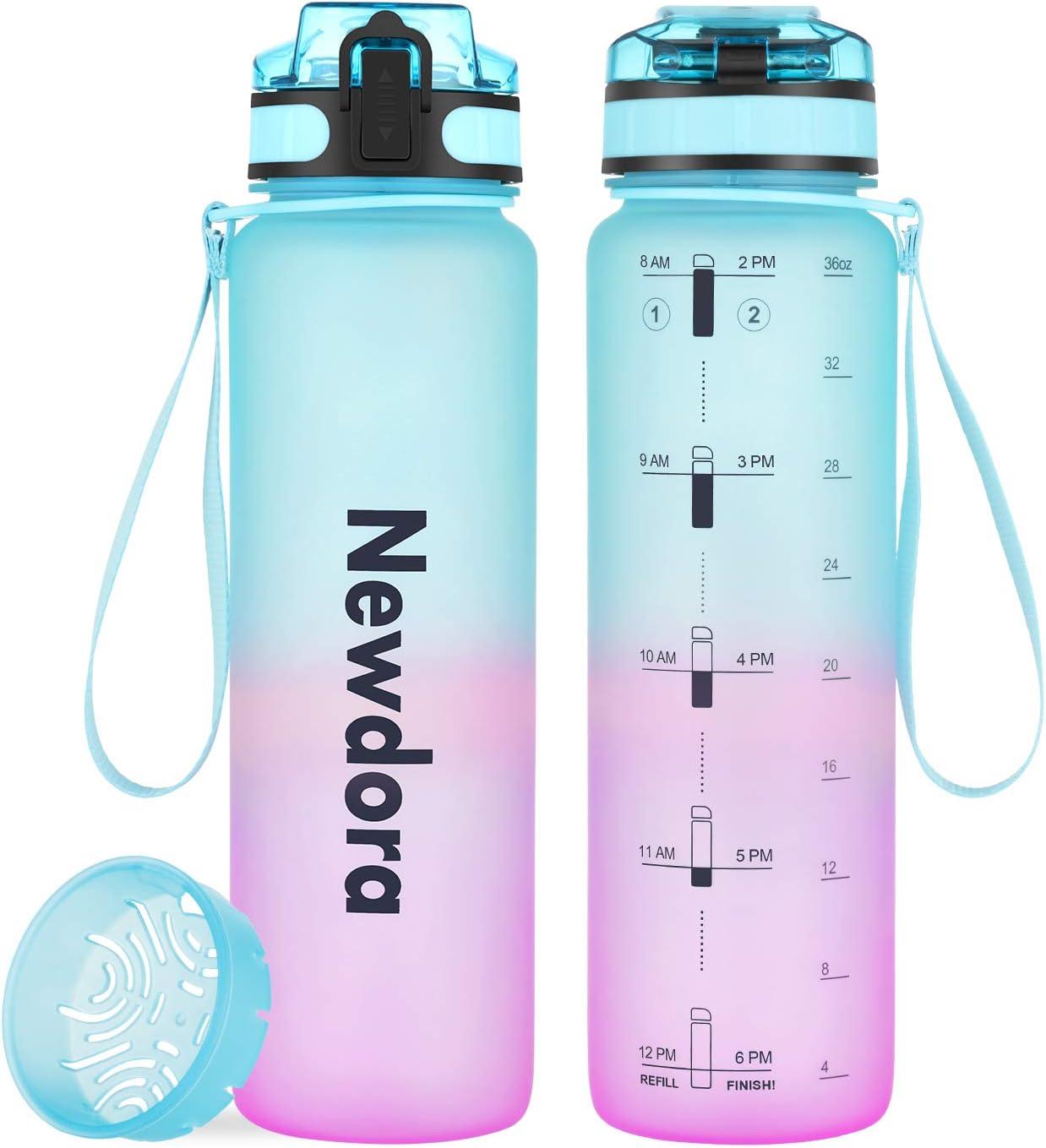 Newdora Botella de Agua Deportiva, 1000ml 650ml, Plástico de Poliéster, Sin BPA, a Prueba de Fugas, Botella Agua Bicicleta, Botella con Filtro, para Viaje, Gimnasio, Correr