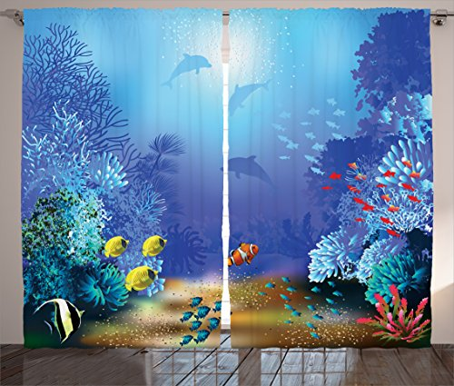urtains by Ambesonne, Underwater Coral Reef Polyps Algae Dolphins and Goldfishes Bubbles Deep Print, Living Room Bedroom Window Drapes 2 Panel Set, 108W X 84L Inches, Blue (Dolphin Window)