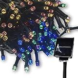 LED ソーラー イルミネーション 太陽発電 200球 9色 点灯8パターン 防雨 屋外 クリスマス イルミ 自動ON/OFF (4色)
