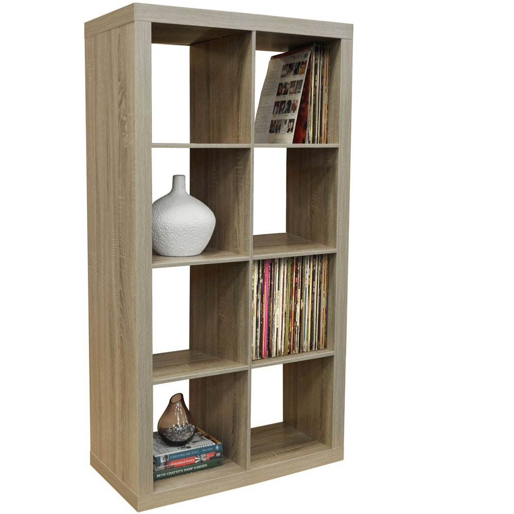 WATSONS CUBE   8 Cubby Square Display Shelves//Vinyl LP Record Storage  Tower   Limed Oak