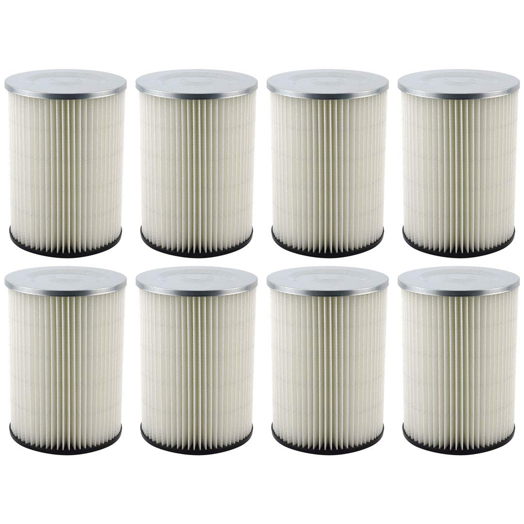 8 Pack Felji Replacement Cartridge Filters for Shop Vac 90328 9032800 903-28 903-28-00 fits Craftsman and Ridgid Brand Vacuums