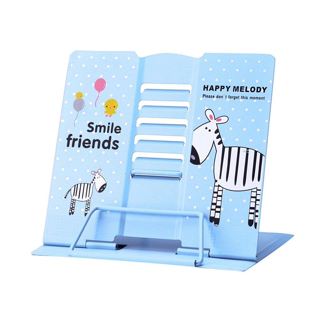 Reading Bookstand Book Holder, Kicpot Adjustable and Portable Reading Book Stand Document Holder (Iron Blue)