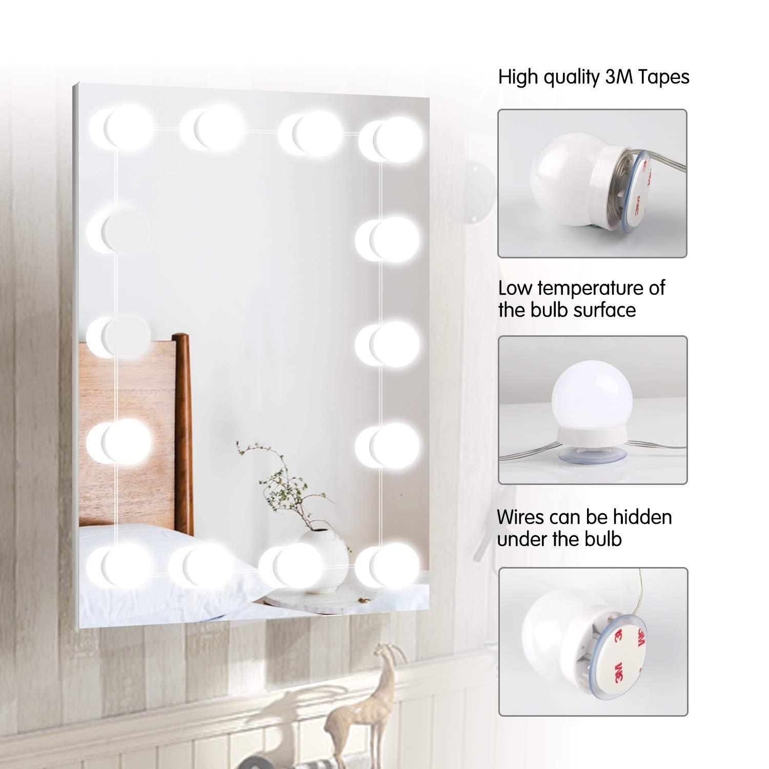 Hollywood LED Vanity Lights Strip Kit with 14 Dimmable ...
