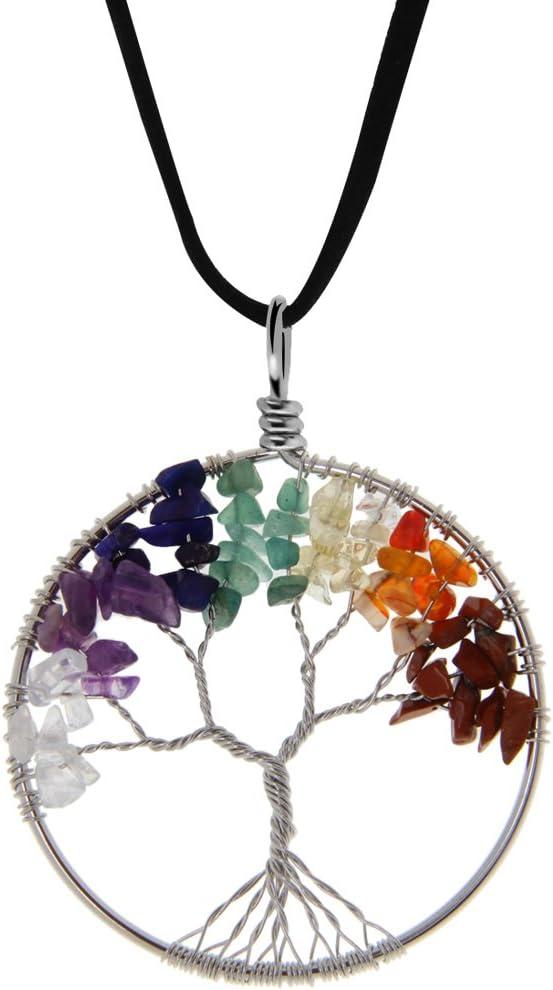 Gazechimp Árbol de Vida Cura Cristalina de Abrigo Alambre Piedra Preciosa Natural Fit Colgante Collar - #4