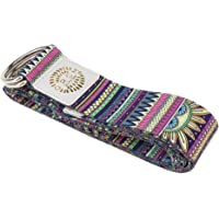 kesoto D-Ring Yoga Strap 6Ft Durable Cotton for Stretching and Flexibility - Indian Pattern, As Described