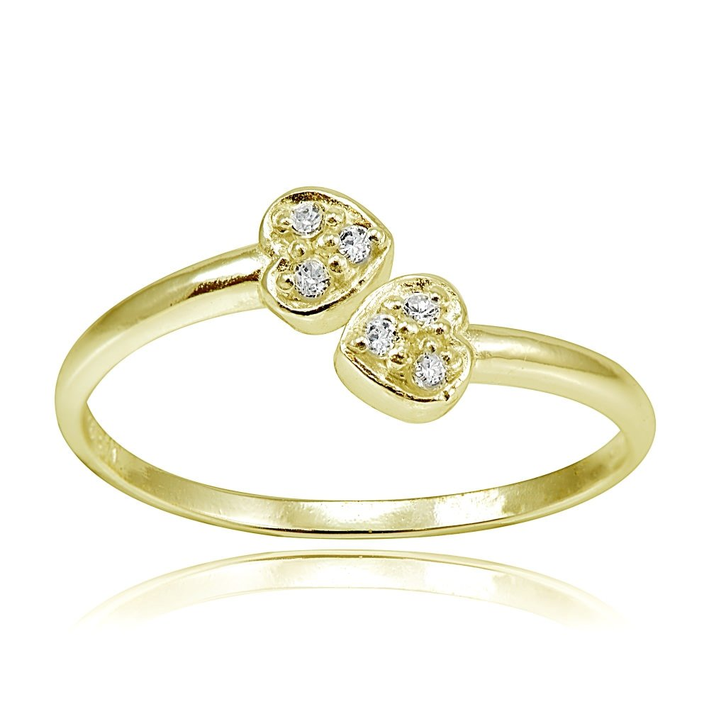 Hoops & Loops Sterling Silver Flash Plated Gold Cubic Zirconia Double Heart Toe Ring by Hoops & Loops (Image #1)