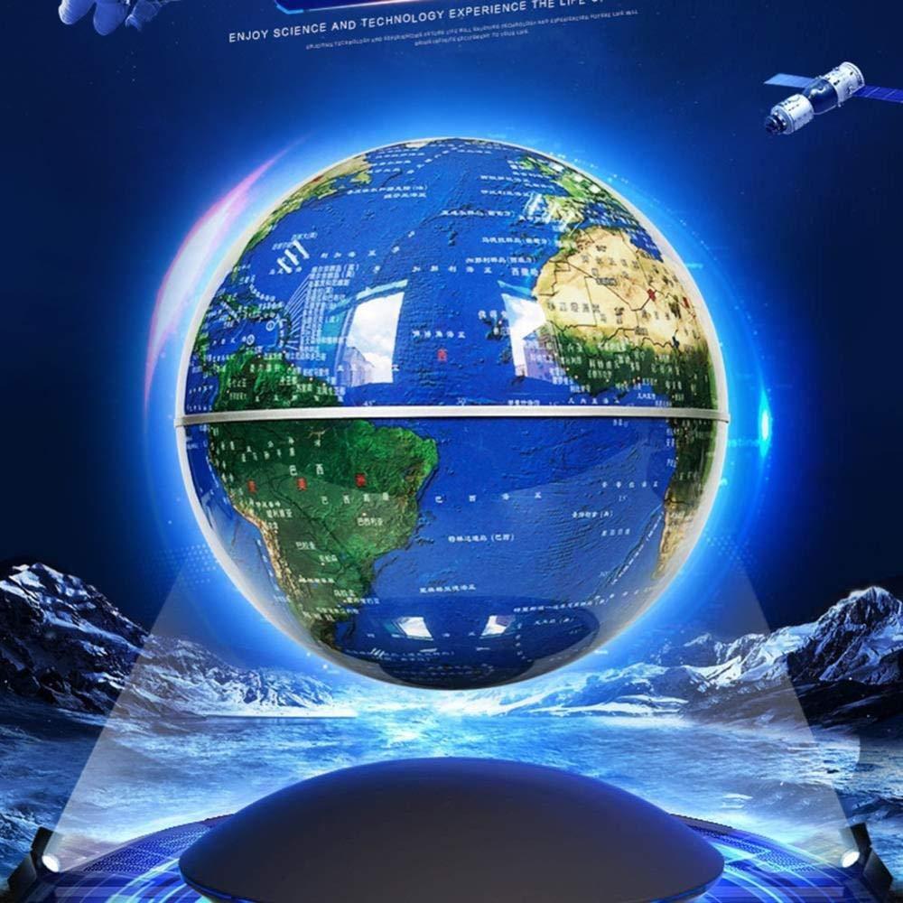 HAOLIN L/évitation Magn/étique Globe Flottant,Bleu 8 Pouces Rotation /à 360 /° Globe Flottant avec des Lumi/ères LED Carte du Monde-pour La D/écoration De Bureau