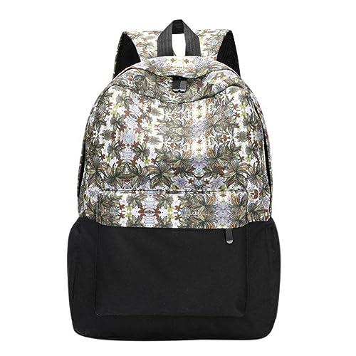 VHVCX Mujeres étnicas Impreso Mochila suaves de la cremallera del recorrido del bolso de embrague para chicas adolescentes de escolar del hombro informal ...