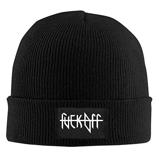 a41d1bc1 IEHFE Men Women Fuck Off Daily Beanie Hat Outdoor Skull Cap Warm Hat  Knitted Beanies at Amazon Men's Clothing store: