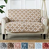Home Fashion Designs Adalyn Collection Deluxe Reversible Quilted Furniture Protector. Beautiful Print on One Side/Solid Color on the Other for Two Fresh Looks. By Brand. (Loveseat, Lattice Taupe)