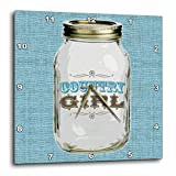 3dRose Mason Jar on Burlap Country Girl In Blue – Wall Clock, 15 by 15-Inch (dpp_165875_3) For Sale
