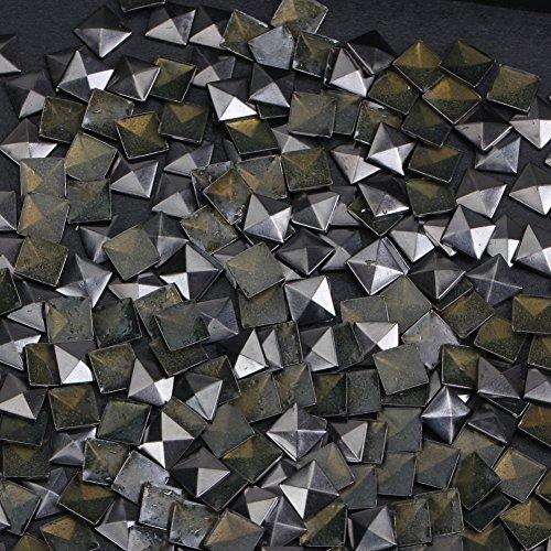 Hotfix Iron On,7X7mm Flat Back Pyramid Studs - 1/4 Flatback Glue on Studs 100pcs(Gun Grey, Pyramid 7x7mm)