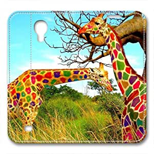 iCustomonline Colorful Giraffes Fashion Back Snap on Leather Case for Samsung Galaxy S4 I9500 hjbrhga1544
