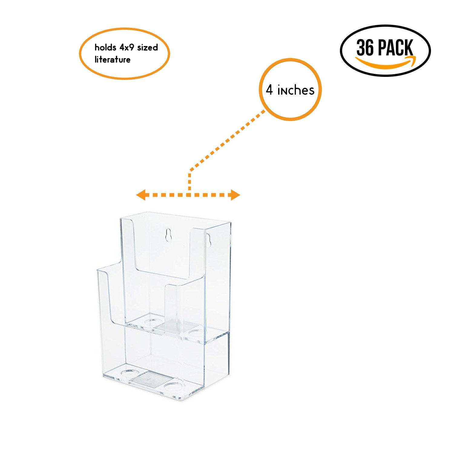 Source One LLC 4-Inch Wide 2 Tier TriFold Brochure Holder, Clea (36 Pack)