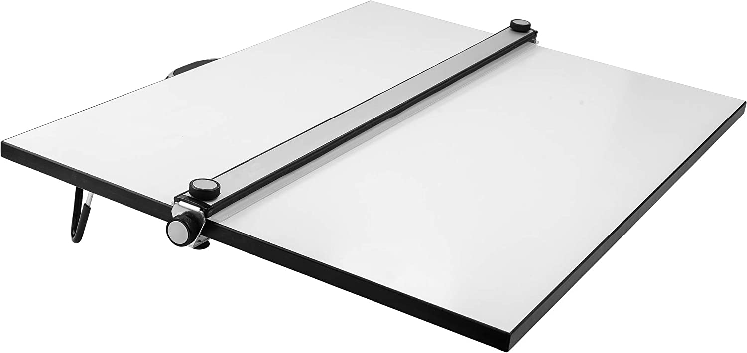 Pacific Arc Table Top Drawing Board with Parallel Bar, White, 24 inches by 36 inches