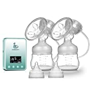 Electric Breast Pump - Breastfeeding Pump Rechargeable Milk Saver Digital LCD Display Dual Silicone Breast Pumps (Blue)