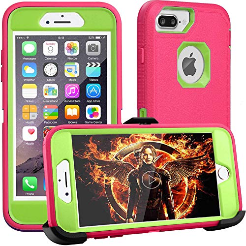 iPhone 8 Plus Case,iPhone 7 Plus Case,iPhone 6 Plus Case,FOGEEK[Dust-Proof]Belt-Clip Heavy Duty Kickstand Cover[Shockproof] PC+TPU for Apple iPhone 7 Plus, iPhone 6/6s Plus(Rose and Green)