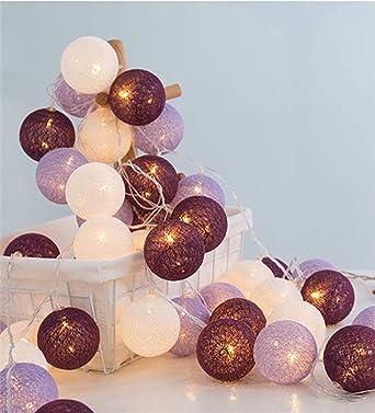 Guirnalda de luces LED con bolas de algodón de 3 m, 20 unidades, con pilas, decoración para fiestas, salón, jardín, Navidad, bodas, morado, 5,0 m: Amazon.es: Iluminación