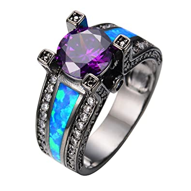 JW Collection azul Opal hembra Amatista Redondo Zircon Oro ...