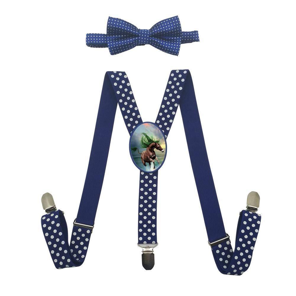 Qujki Unicorn Horse Suspenders Bowtie Set-Adjustable Length