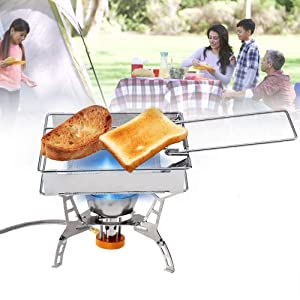 Stainless Steel Camp Stove Toaster Rack Foldable Rectangular Stove Toaster Bread Toast Tray Rack Camping Picnic Bread Toaster Rack Outdoors Glacier Hand-Held for Camping Outdoor Cooking Set Cookware