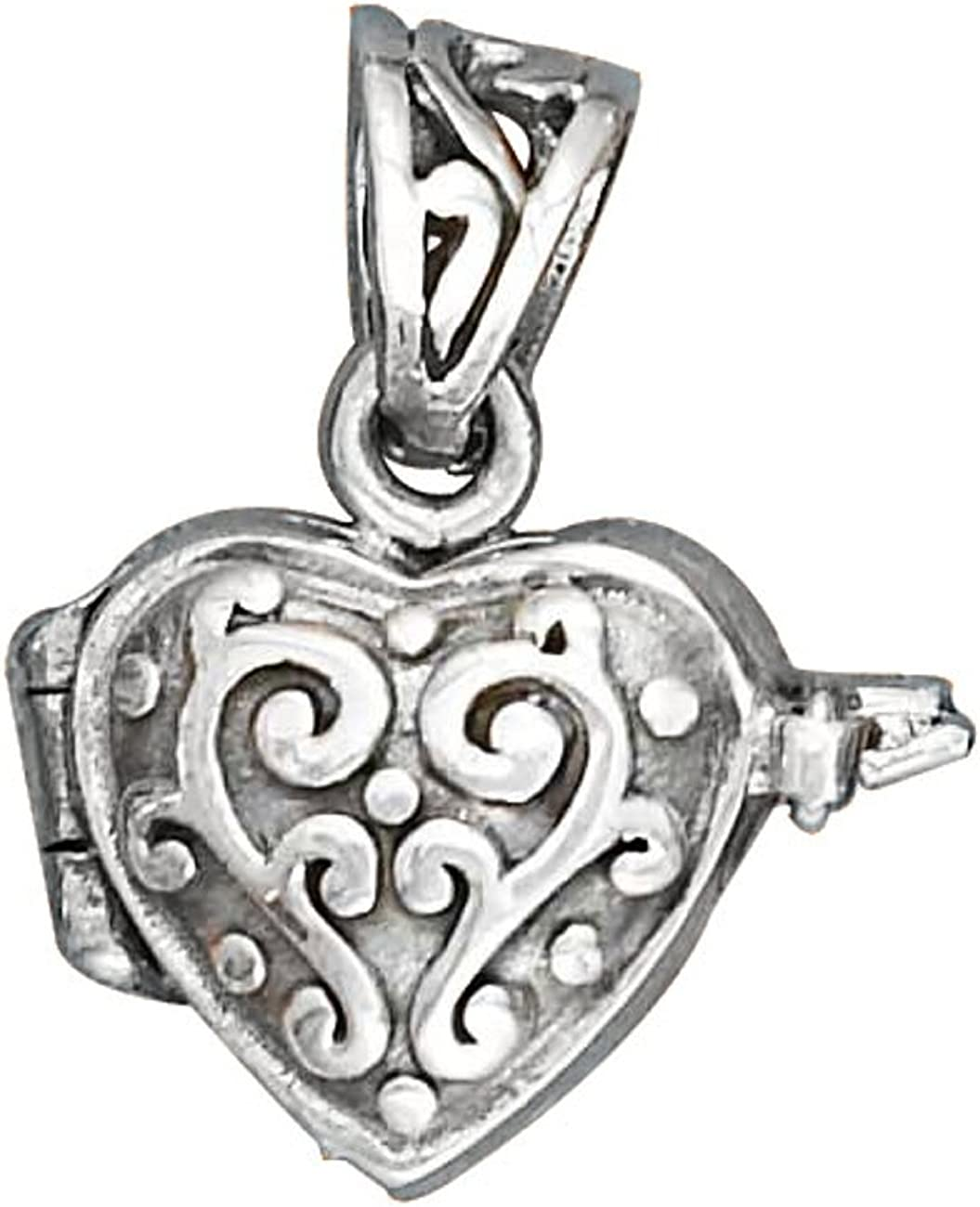 Sterling Silver Girls .8mm Box Chain Small Puffed Heart Pendant Necklace