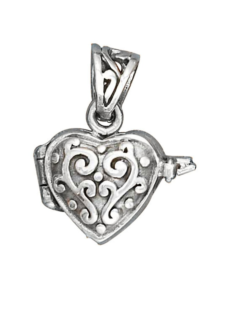 Sterling Silver Womens 24'' 1mm Box Chain Small Puffed Heart Locket Pendant Necklace