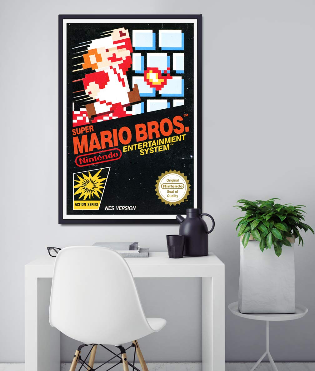 1985 Super Mario Bros. NES Original Box POSTER! (24 x 36 or Smaller) - Nintendo - Gamer - Mario Brothers - Video Game - Full Size - Vintage