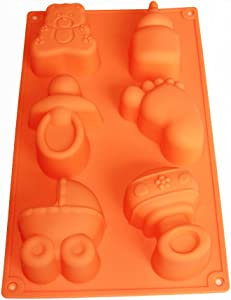 X-Haibei Baby Carriages Bottle Little Feet Bear Soap Mold Making Supplies Chocolate Cake Pan Silicone Shower Favor, Color may vary
