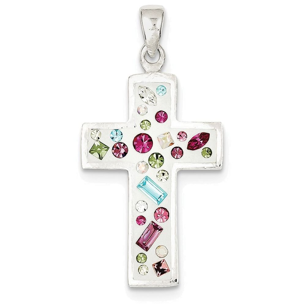 Finejewelers Sterling Silver Cross with Cubic Zirconia Pendant Necklace Chain Included