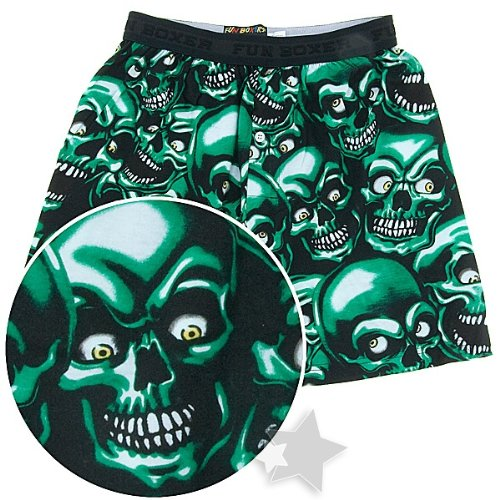 Fun Boxers Mens Fun Prints Boxer Shorts, Green Creepy Skull, - Boxer Print Mens