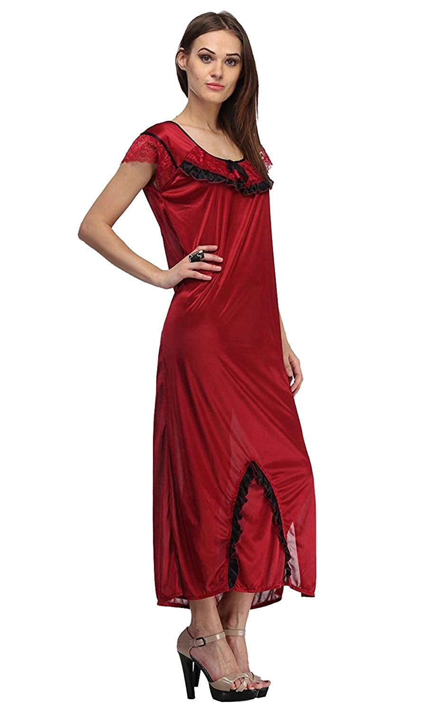 Amazon.com  Miss Pixy Women s Solid Maroon Nighty Cotton Night Wear Dress   Clothing 8e8cb963b