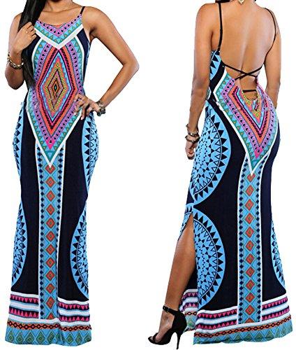 Women Sexy Spaghetti Strap Backless Boho Floral Print Side Slit Long Maxi Dress