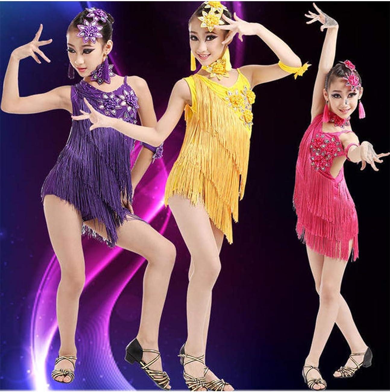 besbomig Kids Girls Sequin Fringe Salsa Tango Latin Dance Dress Party Performance Dancewear Ballroom Dancer Costume Outfit