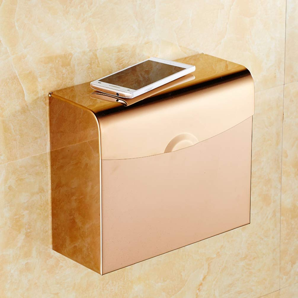 E LUDSUY Continental pink gold Tissue Box Toilet Paper Carton Box Bathroom Sanitary Toilet Tissue Holder Waterproof Roll Toilet Paper Holder, F