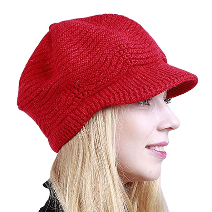4a230634db5 Broadmix Women s Knit Chunky Beanie - Winter Slouchy Beanie with Visor  Skull Hat at Amazon Women s Clothing store