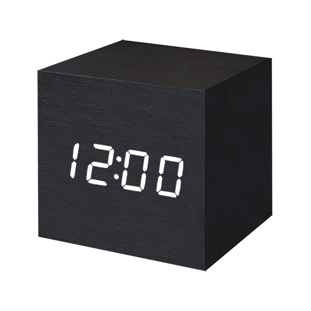 Digital Alarm Clock Wooden LED Light Multifunctional Modern Cube Displays Date Temperature for Home Office Travel-Black by WulaWindy