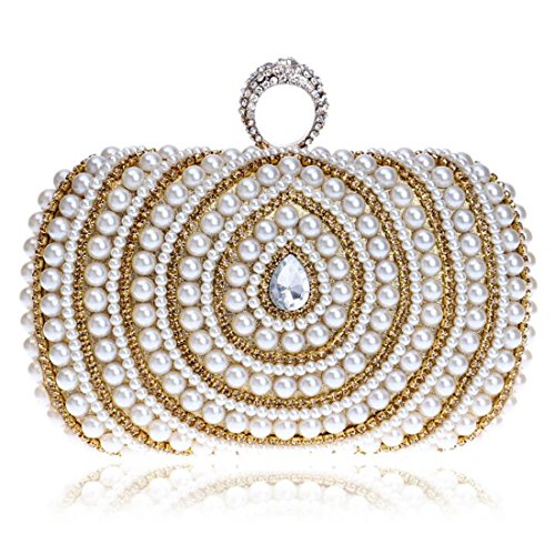 EPLAZA Women Rhinestone Beaded One Ring Evening Clutch Bags Handbags Bridal Wedding Party Purse (C)