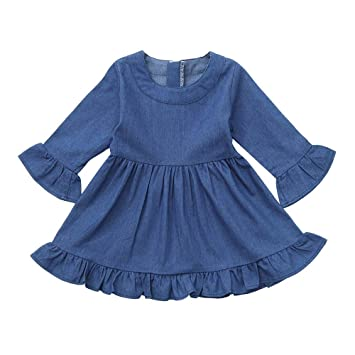 4fde68df22 Amazon.com   Baby Girls Christmas Playwear Dresses Toddler Kids Solid Denim  Ruffles Long Sleeve Dresses Clothes Outfit (age  12-18 Months