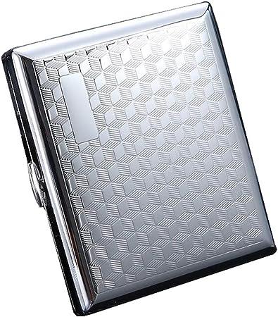 QLIGAH Estuche de Cigarrillos para Hombres Moderno Metal metálico Ultrafino Portátil Cajas de Cigarrillos ordinarios de 20 Palos,Silver3,20Sticks: Amazon.es: Hogar