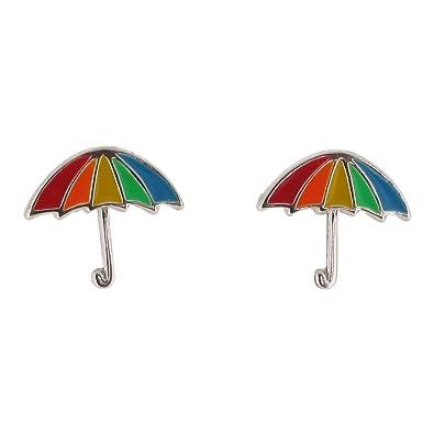 Pendientes de tuerca de plata de ley y esmalte con diseño de paraguas arcoíris