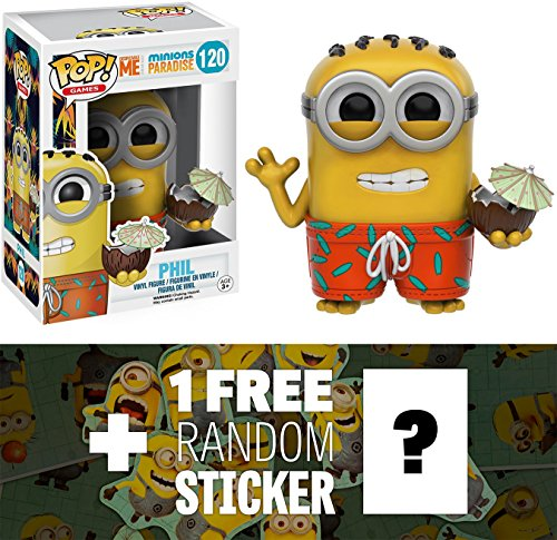 Phil w/ Coconut: Funko POP! x Minions Paradise Vinyl Figure + 1 FREE CG Animation Themed Trading Card Bundle (092238)