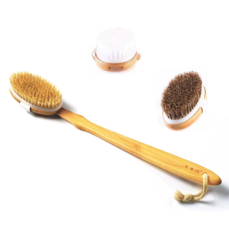 Meiyijia Spazzola corpo Realizzato in bambù naturale,crine, esfoliare, pulire la schiena e massaggiare la cellulite.