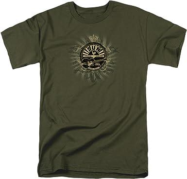 Sun Rock Heráldica Mens Camisa Manga Corta (Verde Militar, Grande)