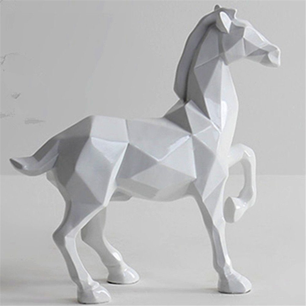 Horse Sculpture Statue Crafts Home Model Home Table Decoration Geometric Resin Animal Statue Crafts (White) by Lucky House (Image #5)