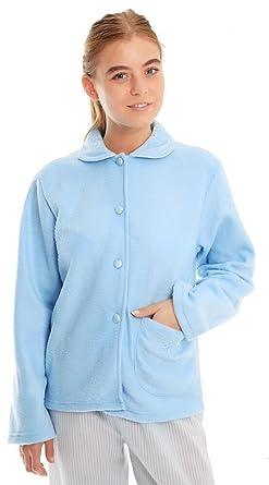 b8c39ab9f83 Ladies Soft Fleece Warm Traditional Button Bed Jacket Nightwear Gown ...