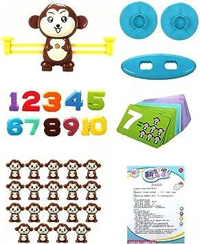 Footprintes Equilibrio Mono Iluminación Suma y resta Digital Matemáticas Escalas Juegos de Mesa Juguete para niños Marrón: Amazon.es: Juguetes y juegos