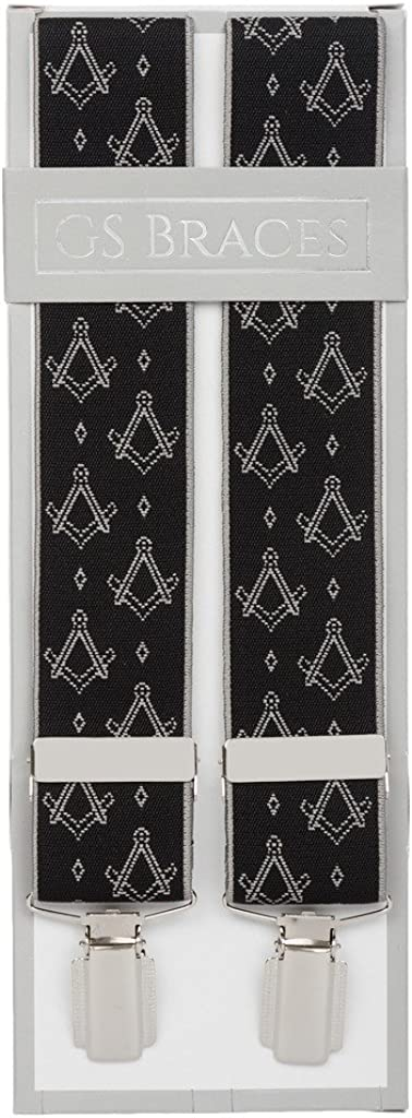 Freemason Masonic Mens Trouser Braces Black Square and Compass X Back Suit Braces for Men with Strong Silver Colour Clips Extra Long Sizes Available XL XXL 2XL
